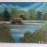 The Old Covered Bridge Original Oil Landscape Painting