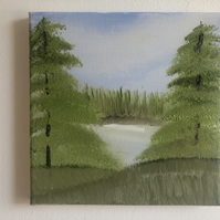 The Hidden Lake Original Landscape Oil Painting