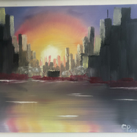 Urban Dawn Original Landscape Oil Painting