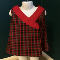 Tartan wrap around dress or top.  Fully lined