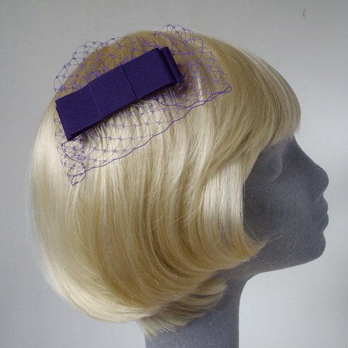 Purple Bow Comb in Petersham Ribbon with Veiling