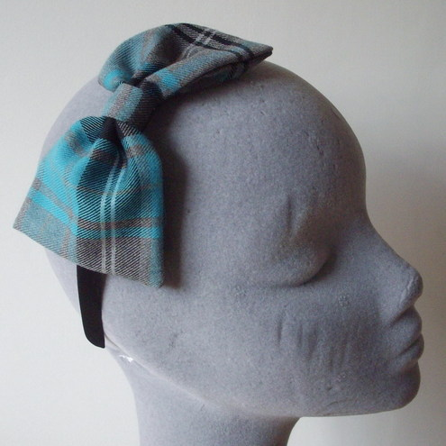 Turquoise and Grey Tartan Bow Band