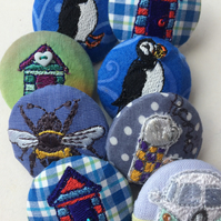 Embroidered badge brooch puffin, camper, teapot, more