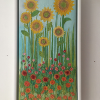 Late Summer - textile applique embroidery of Sunflowers