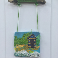 Seaside Beach Hut Days 1 - free embroidery and appliqué OOAK mini artwork