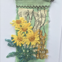 Wildflower miniature textile art - Oxford Ragwort 1 - free motion embroidery