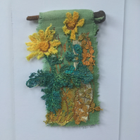 Wildflower miniature textile art - Oxford Ragwort 2- free motion embroidery