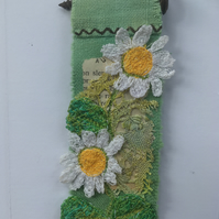 Wildflower miniature textile art - Daisy 1 - free motion embroidery