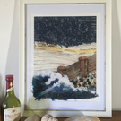 Shingle & Stars -Giclée Print embellished with embroidery and appliqué