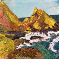 St Abbs -appliqué and free motion embroidery textile art