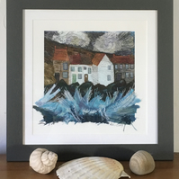 Squall - framed giclée print embellished with appliqué & machine embroidery
