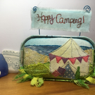 Happy Camping - appliqué in a mackerel tin