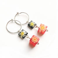 Black and Orange Millefiori Glass Bead Earrings