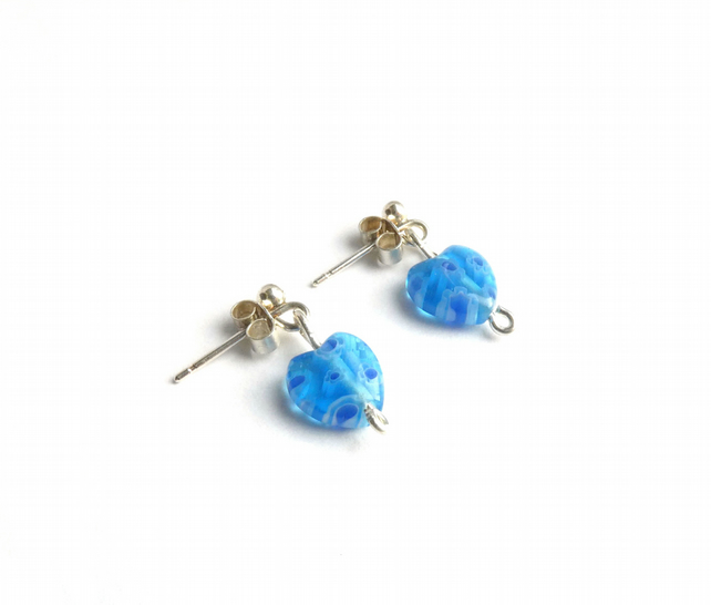 Blue Millefiori Glass Heart Bead Earrings