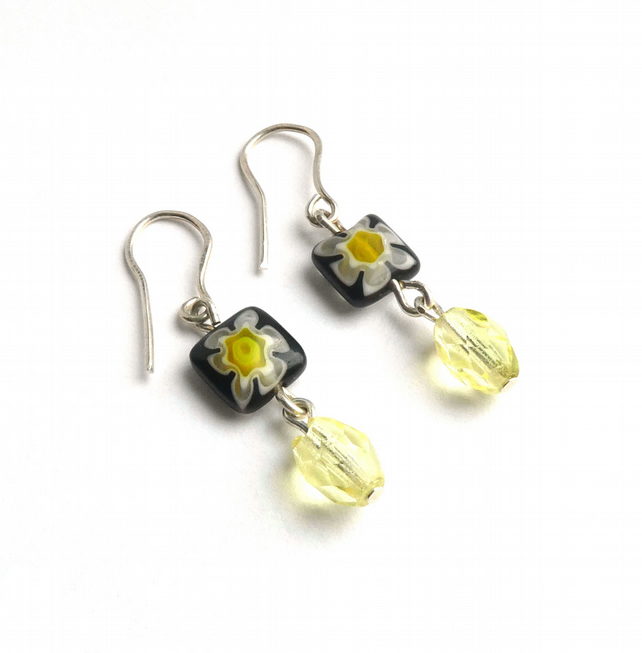 Black Millefiori and Lemon Faceted Glass Bead Earrings