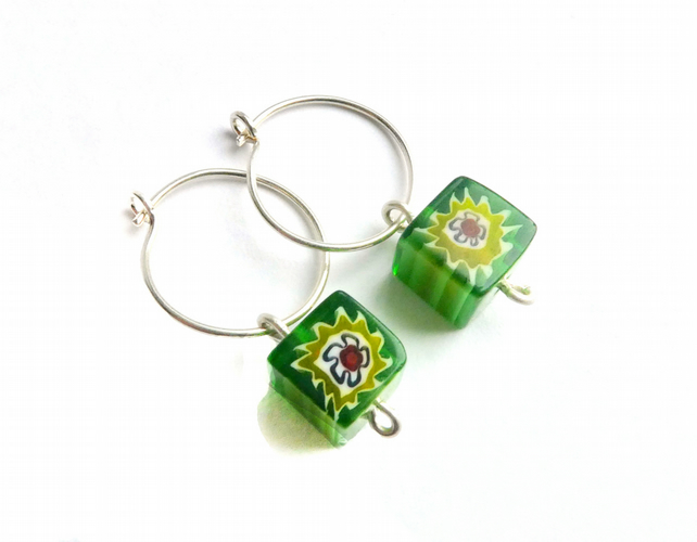 Green Millefiori Glass Bead Earrings