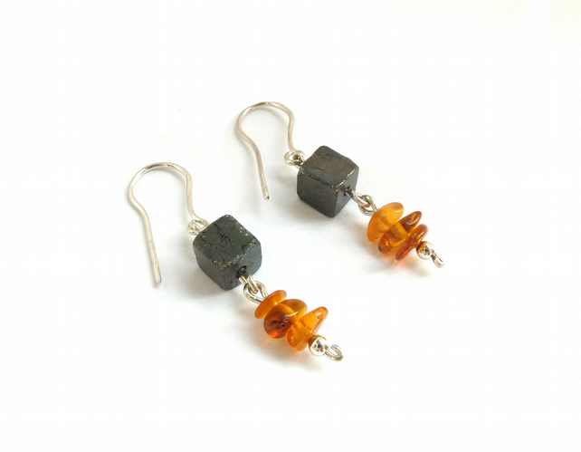 Pyrite Cube and Amber Bead Earrings