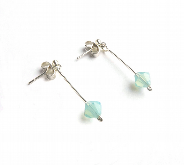 Sea Green Faceted Swarovski Bead Earrings