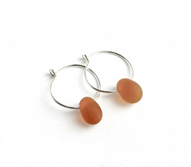 Orange Frosted Drop Glass Bead Earrings