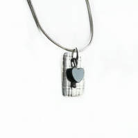 Haematite Heart on Rolled Silver Necklace
