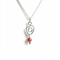 Carnelian Bead and Sterling Silver Necklace