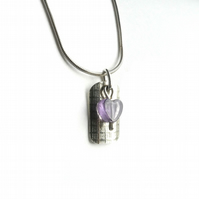 Amethyst Heart on Rolled Silver Necklace