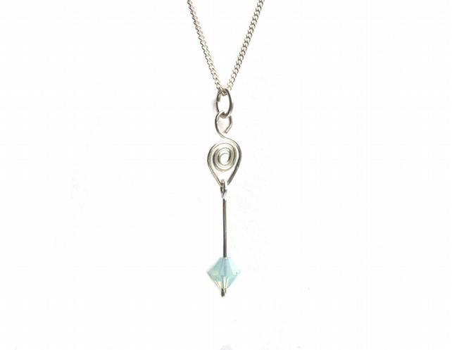 Sea Green Faceted Swarovski Bead and Sterling Silver Necklace