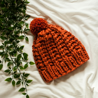 Chunky Lace Beanie - 100% Merino Wool - Hand knitted hat