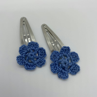 Blue flower hair clips, blue hair slides,
