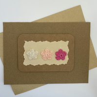 Card with 3 crochet flowers, pink & cream, blank card