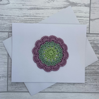 Card with large flower motif, blank card
