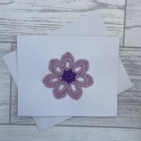 Card with purple & lilac flower, blank card