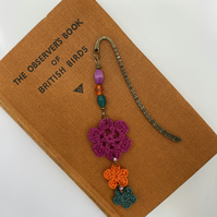 Bookmark with upcycled beads and crocheted flowers, pink, orange & green