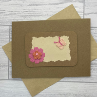 SALE - Blank greetings card with crochet flower and butterfly