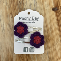 Girl's hair clips, flower clips in pink & purple