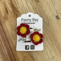 Girl's hair clips, flower clips in yellow, green & red