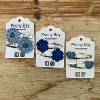 Girl's hair clip bundle in blue, multipack of 6 clips, save 15%