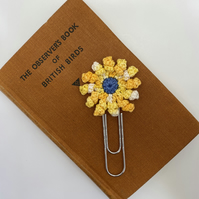 Flower paperclip bookmark in yellow and blue