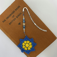 Flower bookmark in blue and yellow with upcycled beads