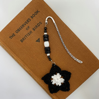 Flower bookmark in black and white with upcycled beads