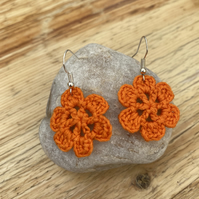 Orange flower earrings on .925 silver hooks
