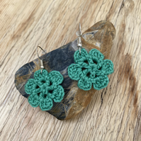 Green flower earrings on .925 silver hooks