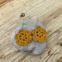 Flower earrings in mustard cotton on .925 silver hooks
