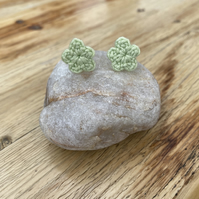 Green flower earrings on hypoallergenic surgical steel studs