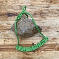 Chunky crochet necklace in green recycled cotton