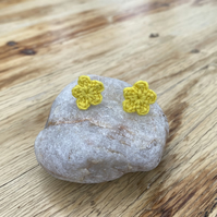 Yellow flower earrings on hypoallergenic surgical steel studs