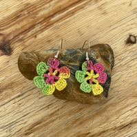 Rainbow flower earrings on .925 silver hooks