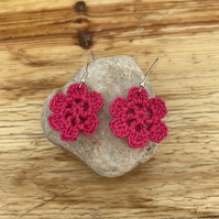 Pink flower earrings on .925 silver hooks