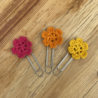 Set of 3 planner clips in bright pink, yellow and orange