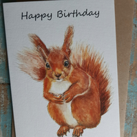 Greetings card Squirrel Happy Birthday British Wildlife Watercolour